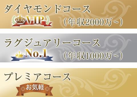 ダイヤモンドコース(年収2000万〜)ラグジュアリーコース(年収1000万〜)プレミアコース